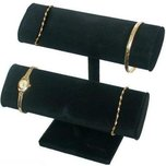 2 Tier Black Velvet T-Bar Bracelet Watch Jewelry Display Stand Kit 2 Pcs