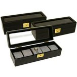 3 Leather Watch Box Case Display w/Glass Top 5 Slot New