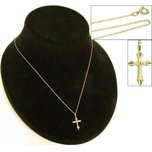 "Cross Charm 20.5mm & 18"" Chain 14k Gold"