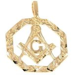 Freemason Charm 14k Gold 25mm