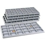 5 Grey Flocked 24 Compartment Display Tray Inserts
