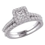 14K White Gold 1.25 ct GH Diamond Bridal Wedding Ring Set Sz 6.75