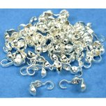 50 Bead Tips Clamshell Silver Plated Bead Stringing Parts