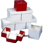 6 Red Earring Gift Boxes w/Snap Lids 2""