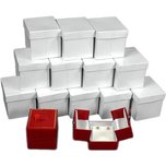 12 Red Earring Gift Boxes w/Snap Lids 2""