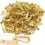 144 Gold Plated Pin Backs 27 x 5mm