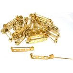 Bar Pin Backs Gold Plated 27mm 25Pcs
