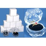 12 Clear Crystal Ring Gift Boxes 1 7/8""