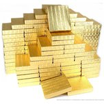 "100 Pc Gold Foil Cotton Fill Filled #65 Jewelry Boxes 6 1/8""""Lx5 1/8""""Wx1 1/8""""H"