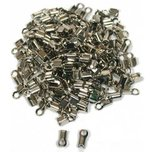 144 Nickel Plated Cord Ends 8.6 x 4mm