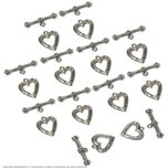 12 Bali Toggle Clasps Hearts Beading Jewelry Bracelet