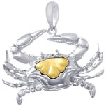 Sterling Silver & 14K Gold Crab Pendant
