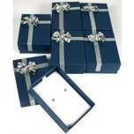 6 Bow Tie Earring Gift Boxes Blue Silver Jewelry Box