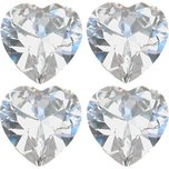 Cubic Zirconia Heart 4mm 4Pcs