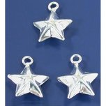 Star Charms Sterling Silver 12.5mm 3Pcs