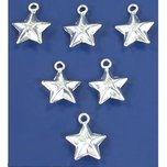 Star Charms Sterling Silver 12.5mm 6Pcs