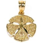 Sand Dollar Charm 14k Gold 14mm