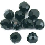 10 Jet Black Round Swarovski Crystal Beads 5000 6mm