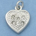 Chinese Crystal Heart Spring Ring Charm White Plated 13mm