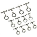 12 Bali Antique Silver Toggle Clasps Jewelry Findings 3 Sizes