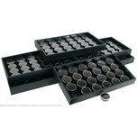 6 24 Black Gem Jars Display Inserts & Travel Trays