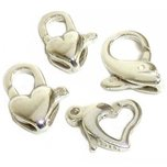 4 Sterling Silver Lobster Claw Heart & Dolphin Clasps