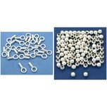1.2mm Sterling Silver Crimp End Cap & 2mm Round Seamless Beads Kit 110 Pcs