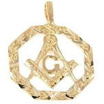 14K Gold Charm Masonic Freemason Pendant Jewelry Part 25 x 19mm 2 Pcs