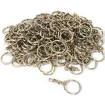 144 Nickel Plated Key Ring with Chain 28mm x 3mm