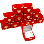 12 Red Velvet Earring Boxes With Brass Corners 2 1/8""