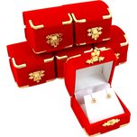 6 Red Velvet Earring Boxes With Brass Corners 2 1/8""