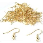 50 Gold Plated Shepherd Hook Earrings 22 Gauge 20mm x 8.5mm
