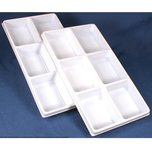 2 White Plastic 6 Compartment Jewelry Tray Inserts