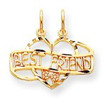 10K Gold Best Friend Breakable Heart Charm