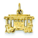 14K Yellow Gold 3D Cable Car Charm