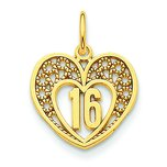 14K Gold 16 in Heart Charm