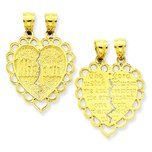14K Gold Reversible Mizpah Break Apart Heart Charm