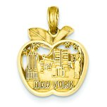 14K Gold New York City Skyline in Apple Charm