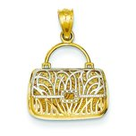 14K Two Tone Gold Reversible Heart Purse Charm