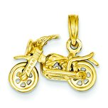 14K Gold 3-D Moveable Motorcycle Pendant