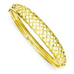 14K Gold 6.25 Graduated Weave Bangle Bracelet 7""