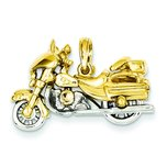 14K Two Tone Gold 3-D Moveable Motorcycle Pendant