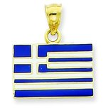 14K Gold Enameled Greece Flag Pendant
