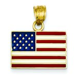 14K Gold Enameled United States Flag Pendant