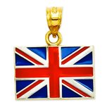 14K Gold Enameled United Kingdom Flag Pendant