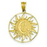 14K Gold Sun Moon & Star Charm
