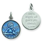 Sterling Silver Resin Angel Round Medal