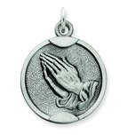 Sterling Silver Praying Hands Round Medal