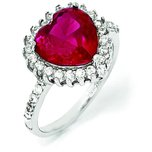 Sterling Silver Rhodium Plated CZ & Ruby Heart Fashion Ring (Sizes 6 to 8)