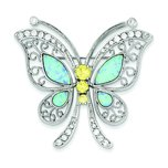 SS Created Opal Yellow & White CZ Butterfly Pin
